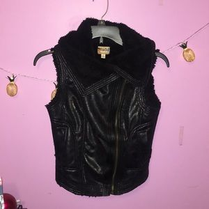 Black Faux Leather Fur Vest